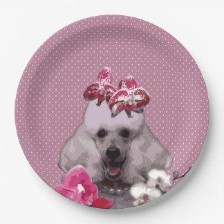 "Pink poodle Paper Plates 9"""