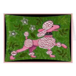 PINK POODLE PARADE - playful poodle greeting card
