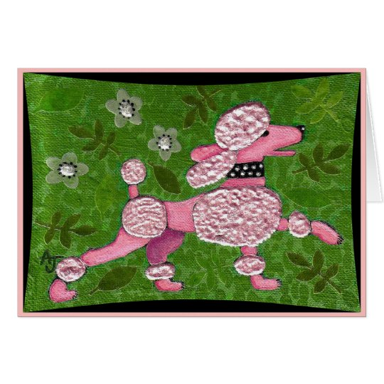 PINK POODLE PARADE - playful poodle greeting card