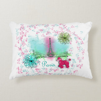 Pink Poodle Paris Eiffel Tower Accent Pillow