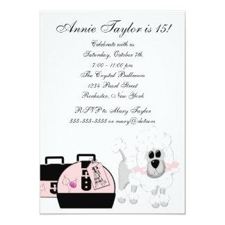 "Pink Poodle Paris Pink Black Girls Birthday Party 5"" X 7"" Invitation Card"