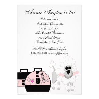 Pink Poodle Paris Pink Black Girls Birthday Party Announcement