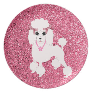 Pink poodle plate