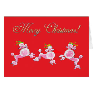 Pink Poodle Retro Merry Christmas Greeting Cards