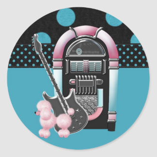 Pink Poodle Rock and Roll Round Sticker