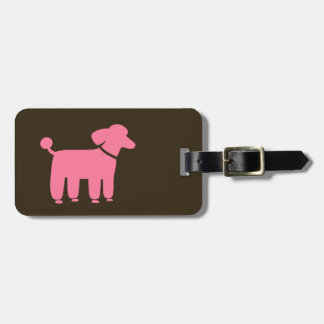 Pink Poodle with Customizable Text Luggage Tag