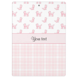 Pink Poodles & Pink Checks Clipboard