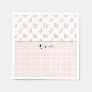 Pink Poodles & Pink Checks Disposable Napkin