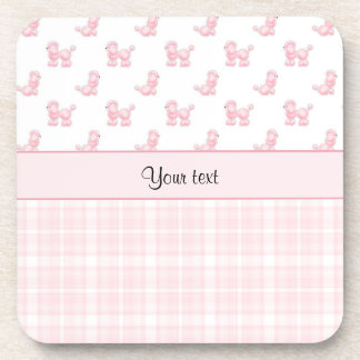 Pink Poodles & Pink Checks Drink Coaster