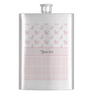 Pink Poodles & Pink Checks Hip Flask