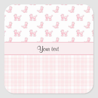 Pink Poodles & Pink Checks Square Sticker