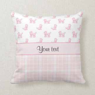 Pink Poodles & Pink Checks Throw Pillow