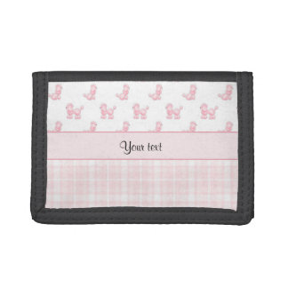 Pink Poodles & Pink Checks Trifold Wallets
