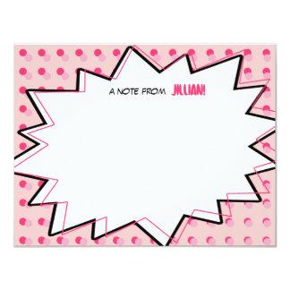 "Pink Pop Art Comic Book Inspired Flat Notecards 4.25"" X 5.5"" Invitation Card"