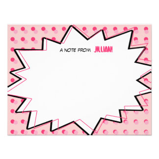 Pink Pop Art Comic Book Inspired Flat Notecards Invites