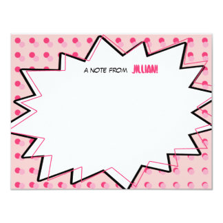 Pink Pop Art Comic Book Inspired Flat Notecards Invites