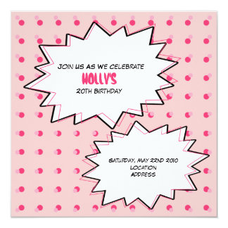 Pink Pop Art Cupcake Birthday Invitation