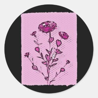 Pink Pop Art Medieval Flower Art Round Sticker