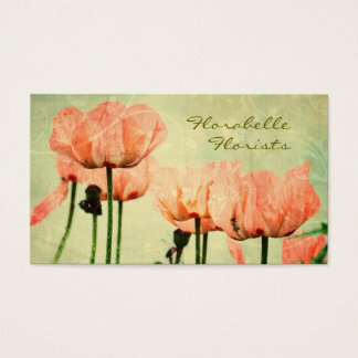 Pink Poppies and Floral Swirls Business Card