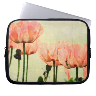 Pink Poppies and Floral Swirls Laptop Sleeve