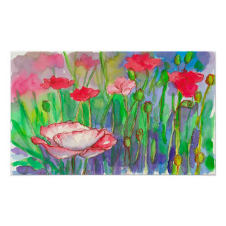 Pink Poppies Watercolor Flowers Poster