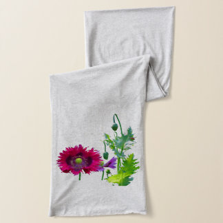 Pink Poppies with fern Scarf