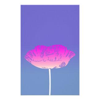 Pink Poppy Flower Original Design Customized Stationery