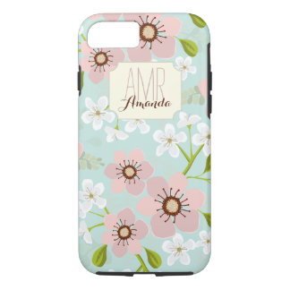 Pink Poppy Garden Floral Personalized Monogram iPhone 7 Case