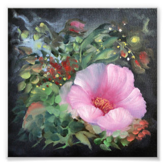 Pink poppy on black background, fantasy flower photo print