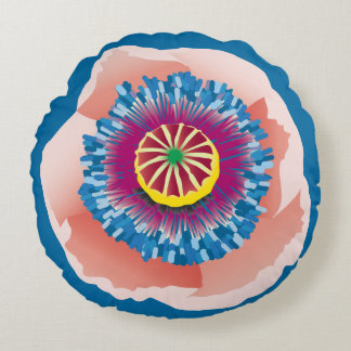 Pink Poppy round pillow