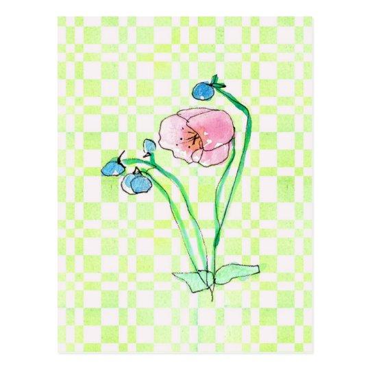 Pink Poppy Wildflower Watercolor Flower Art Postcard