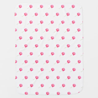 pink poppy with stem baby blanket