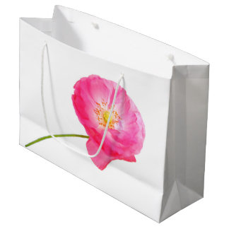 pink poppy with stem large gift bag