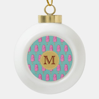 Pink Popsicles Happy Holidays Ceramic Ball Ornament