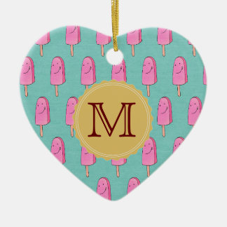 Pink Popsicles Happy Holidays Ceramic Heart Ornament