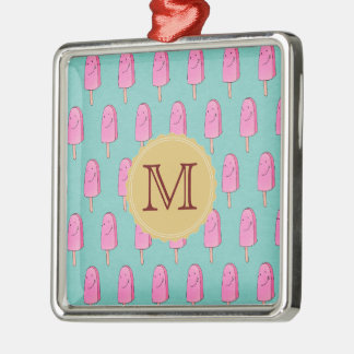 Pink Popsicles Happy Holidays Silver-Colored Square Ornament