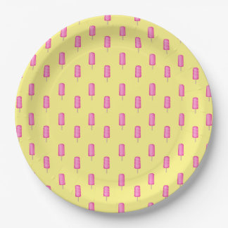 Pink Popsicles Pattern Paper Plate
