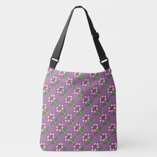 Pink Posey on Purple Crossbody Bag