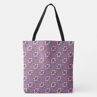 Pink Posey on Purple Tote Bag