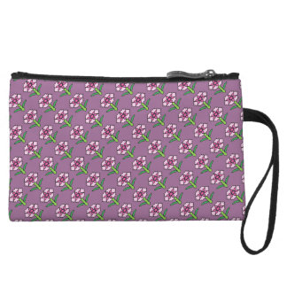Pink Posey on Purple Wristlet