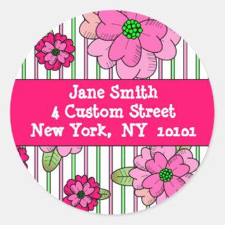 Pink Posy Address Labels Round Sticker