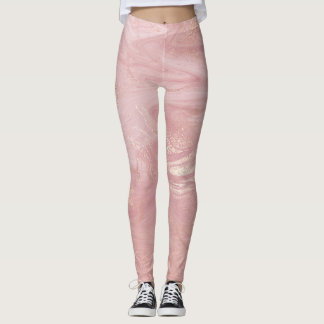 Pink Powder Rose Gold White Abstract Marble Molten Leggings