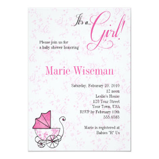 Pink Pram Baby Shower Invitationas Card