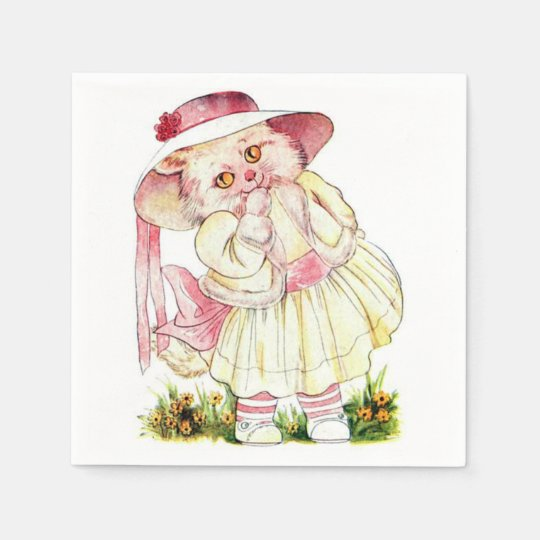 Pink Priceilla CAt Paper Napkin