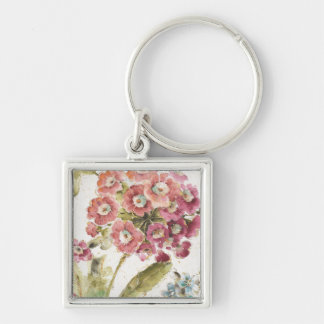 Pink Primrose Silver-Colored Square Keychain