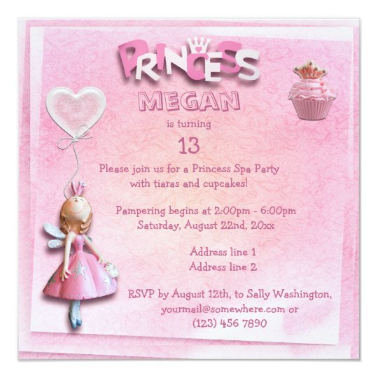 Pink Princess 13th Birthday Spa Party Double Sided Card