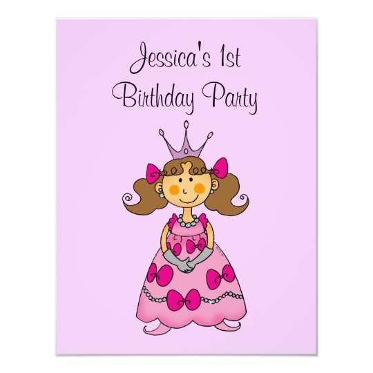 Pink Princess Birthday Party Personalized Card Zazzle