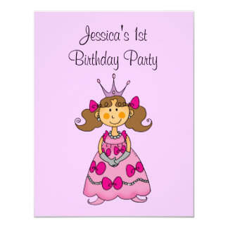 Pink princess 1st birthday party personalized card