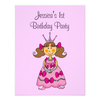 Pink princess 1st birthday party personalized announcement