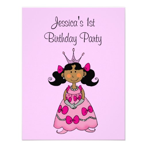 Pink princess 1st birthday party personalized personalized announcement